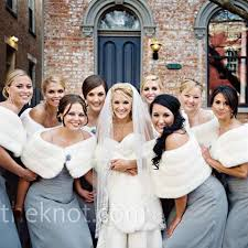 fur shawls for bridesmaids all nine of s bridesmaids wore platinum chiffon dresses by