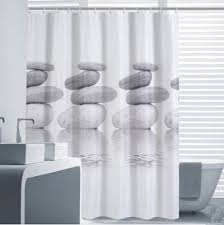 Long White Curtains Vintage Cobblestone Print Shower Curtains Liner Extra Long