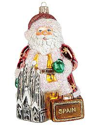 santa in spain blown glass ornament