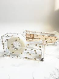 chic office supplies amazon com acrylic tape dispenser gold polka dot chic