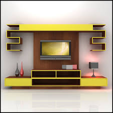 Modern Living Furniture Alluring D Model Yellow And Wood Tv Wall Unit Design Furniture For