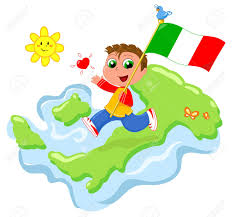 Map Of Italy by Happy Child With Flag And Map Of Italy Cartoon Vector Royalty