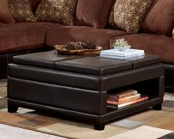 Square Brown Leather Ottoman Black Leather Ottoman Coffee Table With Brown Wooden Tray
