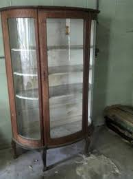 antique curio cabinet with curved glass 300 1890 1900 tiger oak curved glass curio cabinet for sale in