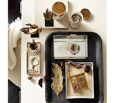 Chevron Desk Accessories Gold Chevron Accessories Pottery Barn