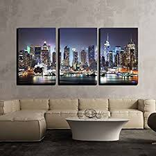 New York City Home Decor Amazon Com Large Canvas Print Wall Art Manhattan Night Lights