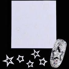 nail art french edge tip guides white star shape stencil sticker