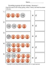 counting a group of coin money worksheets
