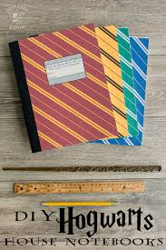 diy hogwarts inspired house notebooks harry potter craft idea