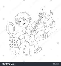 coloring page outline cartoon boy playing stock vector 424589842