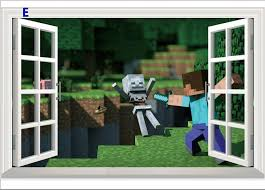 new cartoon 3d minecraft wall stickers home decor party decoration