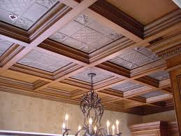 ceiling stunning coffered ceiling in white and tan with lights
