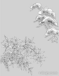 4 designer japanese line drawing of plant flowers vector
