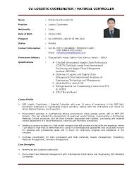 Sample Resume Logistics Coordinator by Cv Logistic Coordinator Material Controller 1