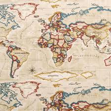 World Map Curtains by Atlas Fabric Antique Cheap Printed Curtain Fabric Uk Delivery