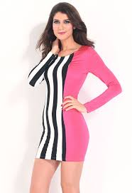 attention getting stripes and solid bodycon dress online