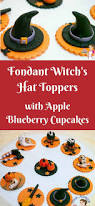 halloween witch u0027s hat cupcake topper with apple blueberry cupcakes