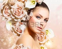 flower hair fashion beauty model girl with flowers hair stock photo