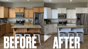 best way to paint pine kitchen cabinets stunning kitchen makeover before after new look kitchen cabinets updating kitchen on a budget