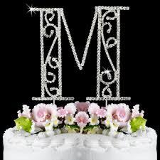 m cake topper m wf monogram wedding cake toppers