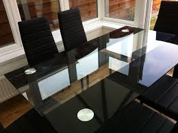 Japanese Style Flooring Dining Room Black Leather Chairs Hand Stunning Glass Black Dining Table Set And 6 Faux Leather Chairs