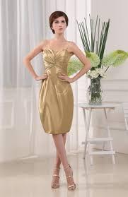 gold color cocktail dresses knee length taffeta uwdress com