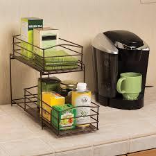 Kitchen Cabinets Baskets by Seville Classics 2 Tier Sliding Basket Kitchen Cabinet Organizer