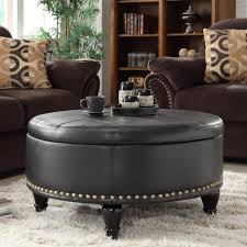 coffee tables mesmerizing round leather ottoman with storage