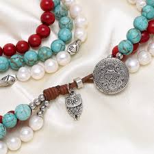 white turquoise necklace images Aobei pearl white pearl necklace red coral necklace nature jpg