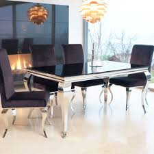 louis contemporary black or white glass u0026 chrome 1 6m or 2m dining