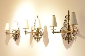 1930s Chandelier art deco sculptural brass wall sconces 1930s set of 3 for sale