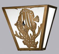 Meyda Tiffany Wall Sconce Tiffany 23909 Tropical Fish Wall Sconce In Antique Copper Finish