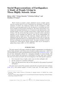 social representations of earthquakes a study of people living in