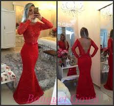 2016 mermaid long sleeves lace prom dresses red pearls bow sash
