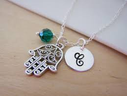 Personalized Sterling Silver Necklace Hamsa Hand Swarovski Birthstone Initial Personalized Sterling