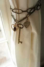 Tie Back Curtains Curtain Tie Back Antique Brass Chain Heart Skeleton Key Metal