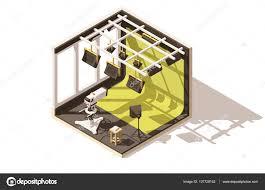 Tv Studio Floor Plan by Vector Isometric Low Poly Television Studio U2014 Stock Vector