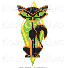 critter clipart of a mysterious thin black cat sitting in front of