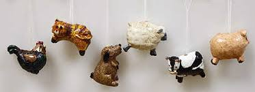 miniature folk farm animal resin ornaments 12 pieces