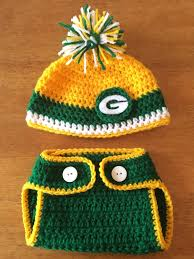 crocheted green bay packers hat and diaper cover set by bartyyarn