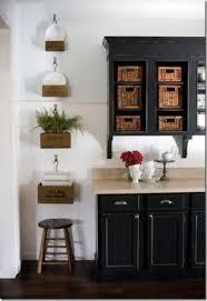 Kitchen Cabinet Boxes Kitchens Black Kitchen Cabinets Wicker Baskets White Wainscoting