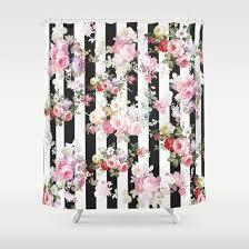 Black Floral Curtains Bold Pink Watercolor Roses Floral Black White Stripes Shower