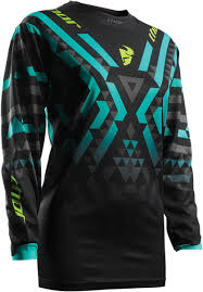thor motocross jersey women u0027s mx jersey thor pulse facet black teal