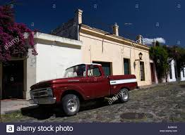 Classic Ford Truck Images - old ford pickup truck on historic paved spanish street with high