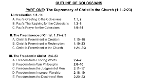 sermon outline about thanksgiving outline of colossians part one the supremacy of christ in the