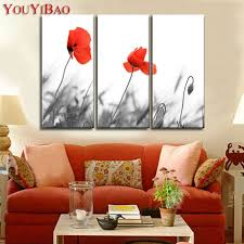 poppy home decor hand painted modern abstract3 piece red poppy oil painting flower