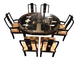 Asian Dining Room Table by Vintage Asian Dining Room Set Set Of 7 Chairish