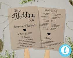 wedding fan program rustic wedding program fan template rustic wedding fan