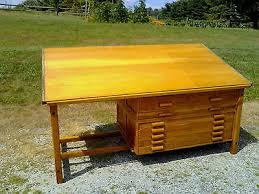 Hamilton Drafting Table Vtg Industrial Hamilton Oak Drafting Table W 8 Blueprint Flat File