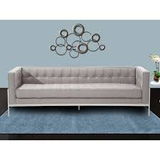 armen living andre contemporary sofa in grey tweed and stainless